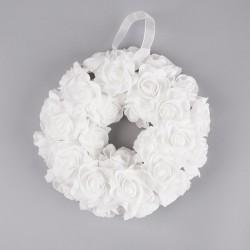 WIANEK dekoracyjny Białe Piankowe Róże 15cm