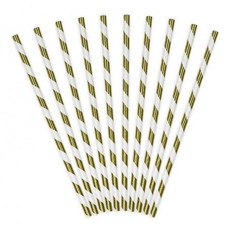 SŁOMKI papierowe metaliczne paski 10szt ZŁOTE