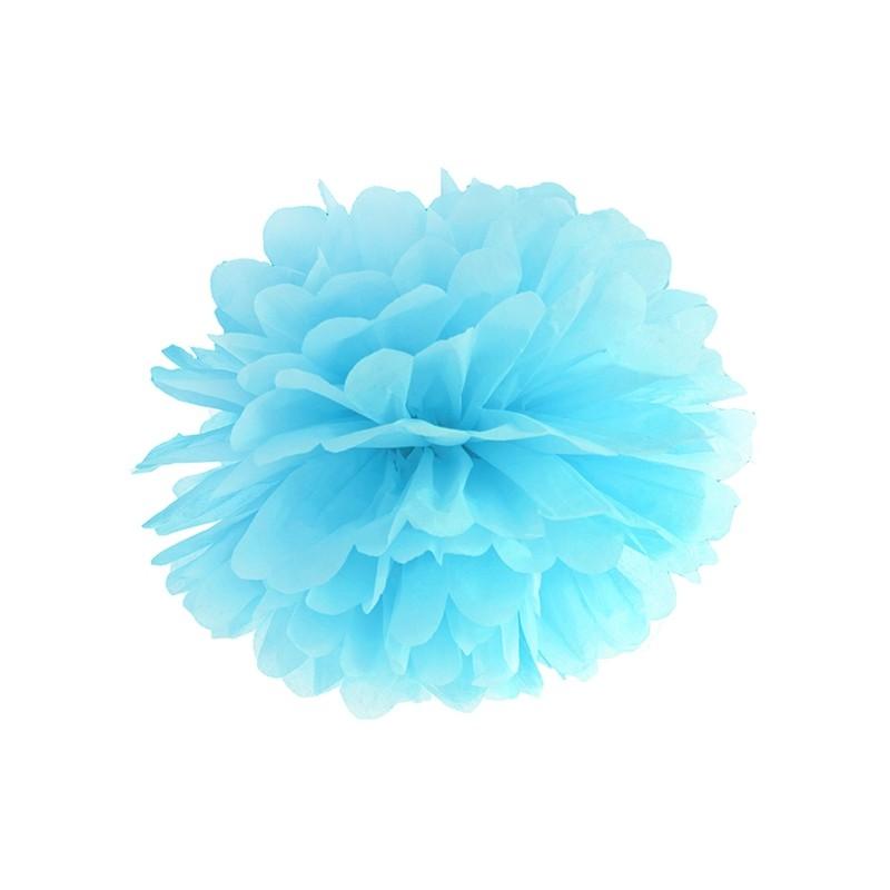 Pompon bibułowy niebieski