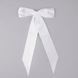 KOKARDY do dekoracji klasyczne białe 4szt