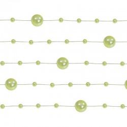 GIRLANDY z pereł i perełek na żyłce 5szt JASNOZIELONE