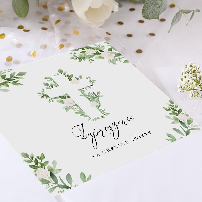 Zaproszenia na Chrzest z motywem kwiatów