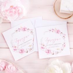ZAPROSZENIA dla Chrzestnych Subtelny Róż KOMPLET 2szt (+białe koperty)
