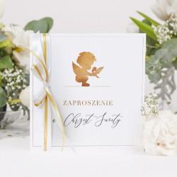 ZAPROSZENIA na Chrzest Złoty Anioł 10szt (+koperty)