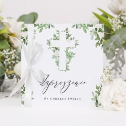 ZAPROSZENIA na Chrzest Delikatne Kwiaty 10szt (+wstążki+koperty)