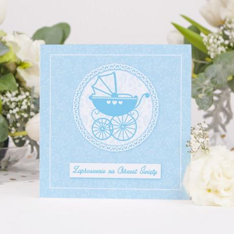 ZAPROSZENIA na Chrzest Błękitny Wózeczek KWADRAT 10szt (+koperty)