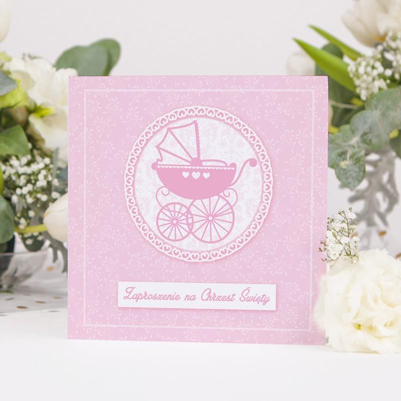 Zaproszenie na Chrzest z motywem różowego wózeczka