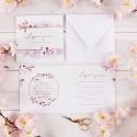 ZAPROSZENIA na Chrzest Kwiat Wiśni 10szt (+koperty)