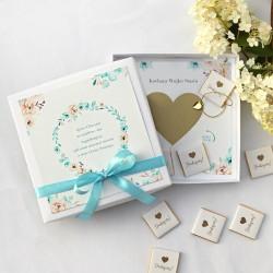 PROŚBA ZDRAPKA w pudełku z czekoladkami Dla Chrzestnego Chłopiec w Kwiatach Z IMIENIEM