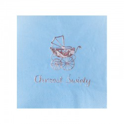 SERWETKI ze srebrnym nadrukiem Błękitny Wózeczek napis Chrzest Święty 33x33cm 20szt