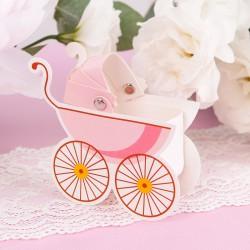 PUDEŁECZKA podziękowanie na Chrzest Różowe Wózki 10szt.