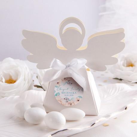 PUDEŁECZKA Aniołek Chłopiec w Kwiatach 10szt (+etykiety z imieniem+białe wstążki)