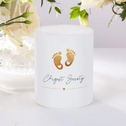 ŚWIECA/LAMPION zapachowa na Chrzest Złote Stópki 12cm/10cm DUŻA
