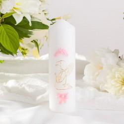 ŚWIECA pieńkowa na Chrzest Różowy Aniołek 16cmx5cm