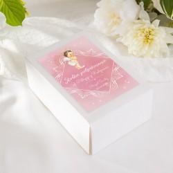 PUDEŁKA na ciasto na Chrzest z IMIENIEM Różowy Aniołek 12szt