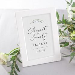 DEKORACJA stołu na Chrzest tabliczka Lily of the Valley (+ramka)