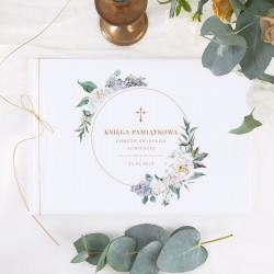 KSIĘGA Pamiątkowa Chrztu Świętego Kwiaty Vintage Z IMIENIEM (+sznureczek złoty)