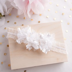 OPASKA na główkę na Chrzest Białe Kwiaty (7)