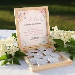PODZIĘKOWANIE dla Chrzestnych/Dziadków na Chrzest skrzyneczka z czekoladkami Z IMIENIEM Subtelny Róż