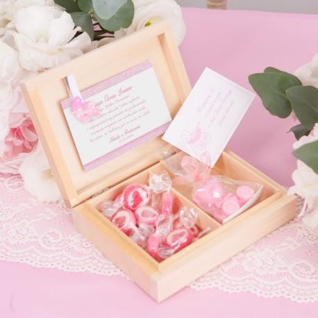 PODZIĘKOWANIE dla Chrzestnych Mydełko+Cukierki Różowy Wózeczek