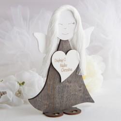 ANIOŁ drewniany filcowe skrzydełka dla Matki Chrzestnej 23cm na Komunię