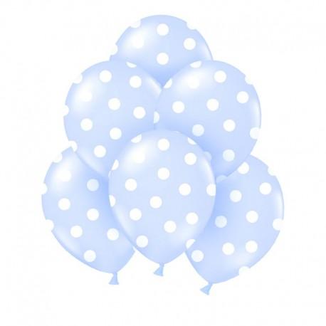 BALONY na Chrzest błękitne w białe kropki 6szt.