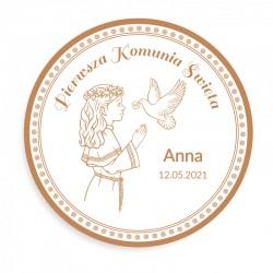 OPŁATEK personalizowany na tort Dziewczynka z Hostią Ø20cm