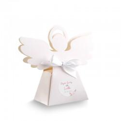 PUDEŁECZKA Aniołek na Chrzest Lovely Peony 10szt (+etykiety z imieniem+białe wstążki)