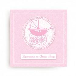 ZAPROSZENIA na Chrzest Różowy Wózeczek KWADRAT 10szt (+koperty)