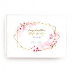 KSIĘGA Pamiątkowa Chrztu Świętego Kwiat Wiśni Z IMIENIEM