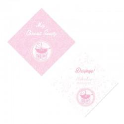 BILECIKI personalizowane na Chrzest Różowy Wózeczek 20szt