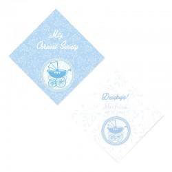 BILECIKI personalizowane na Chrzest Błękitny Wózeczek 20szt