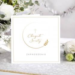 ZAPROSZENIA na Chrzest Złoty Wianuszek 10szt (+koperty)