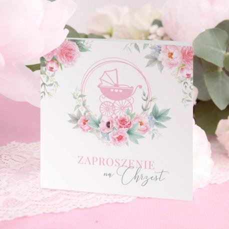 ZAPROSZENIA na Chrzest Kwiatowy Wózek RÓŻ 10szt (+koperty)