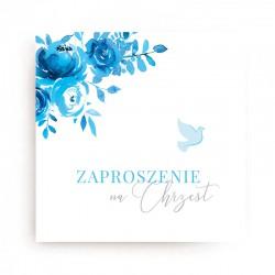 ZAPROSZENIA na Chrzest dla chłopca Błękitne (+koperty)