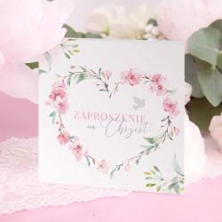 ZAPROSZENIA na Chrzest dla dziewczynki Różowe Serce (+koperty)