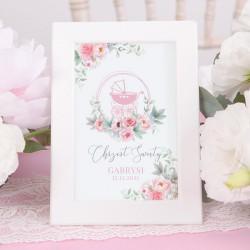 DEKORACJA stołu na Chrzest tabliczka Kwiatowy Wózek RÓŻ (+ramka)