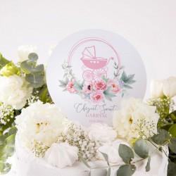 TOPPER na tort personalizowany na Chrzest Różowy Wózeczek Z IMIENIEM