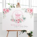 PLAKAT na Chrzest Kwiatowy Wózek RÓŻ Z IMIENIEM 50x70cm
