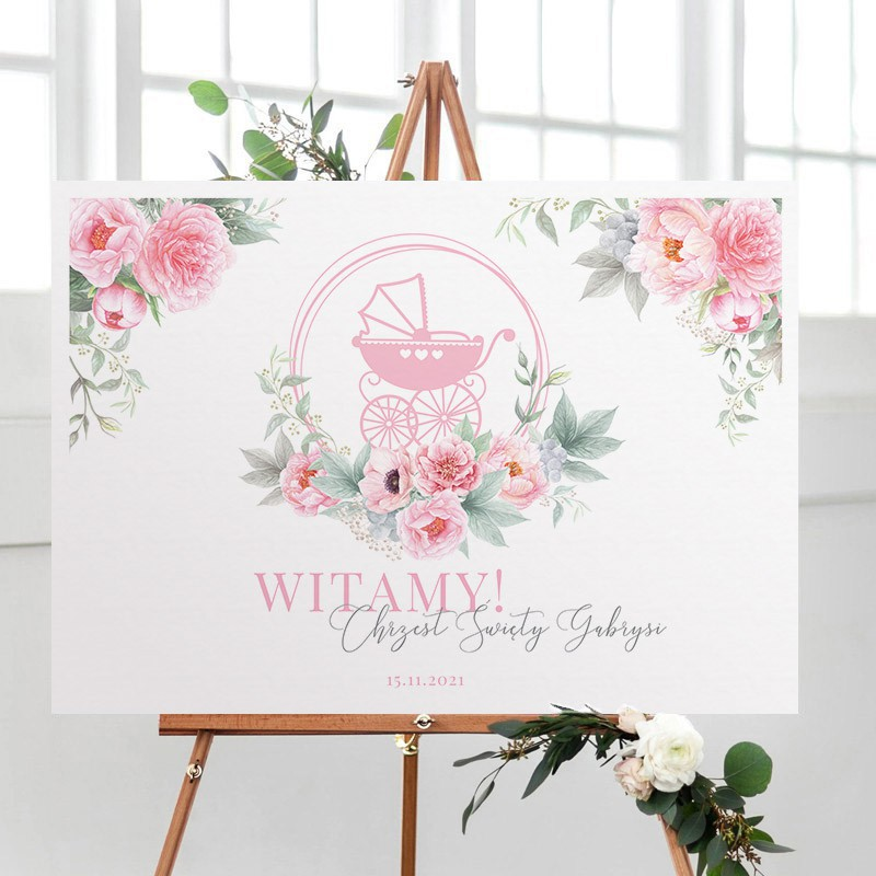 Plakat na Chrzciny różowy wózeczek