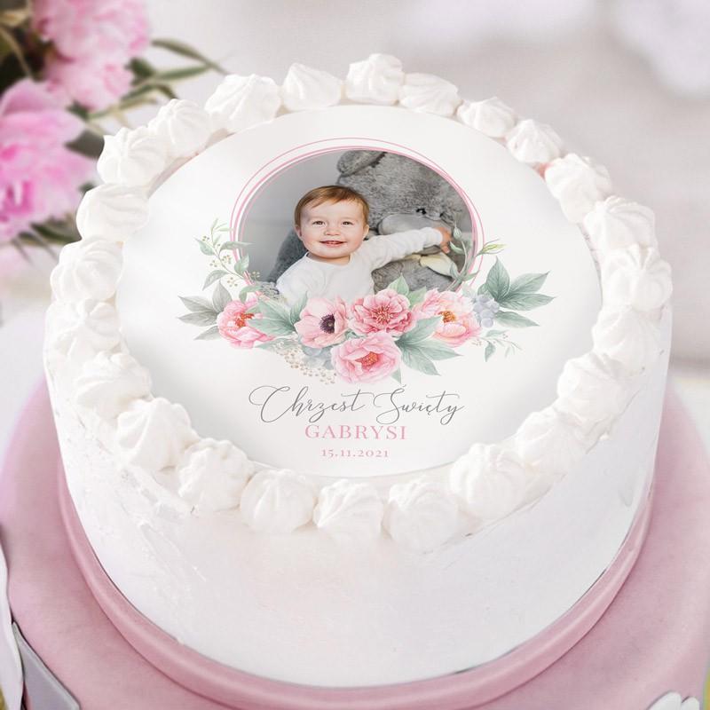 Opłatek na tort ze zdjeciem dziecka na chrzes