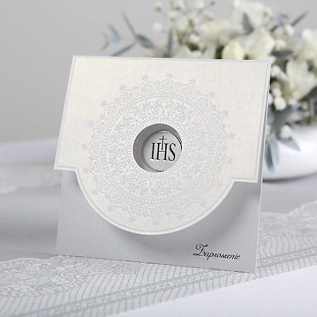 ZAPROSZENIA komunijne Biały Ornament 10szt (+koperty)