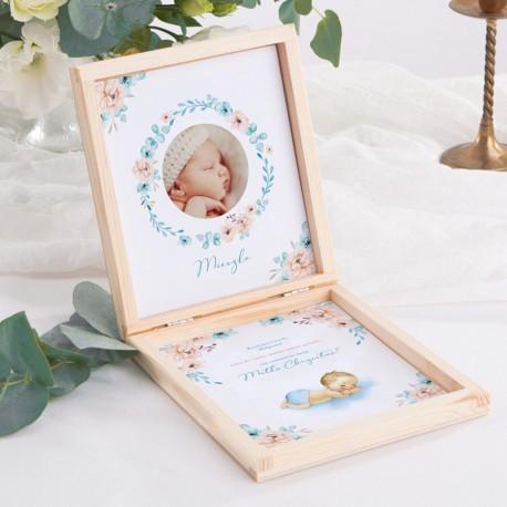 PROŚBA o bycie Chrzestnym pudełko ZE ZDJĘCIEM DZIECKA Chłopiec w Kwiatach