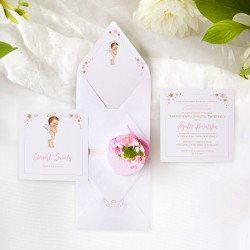 ZAPROSZENIE na Chrzest personalizowane Różowy Aniołek (+koperta z wnętrzem+naklejka)