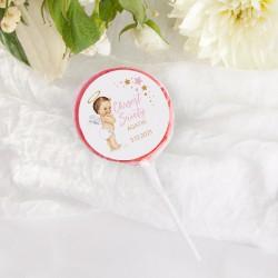 LIZAKI Smaki Dzieciństwa na Chrzest Różowy Aniołek 10szt (+etykiety z imieniem)