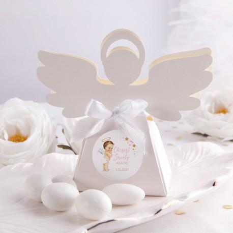 PUDEŁECZKA Aniołek na Chrzest Różowy Aniołek 10szt (+etykiety z imieniem+białe wstążki)