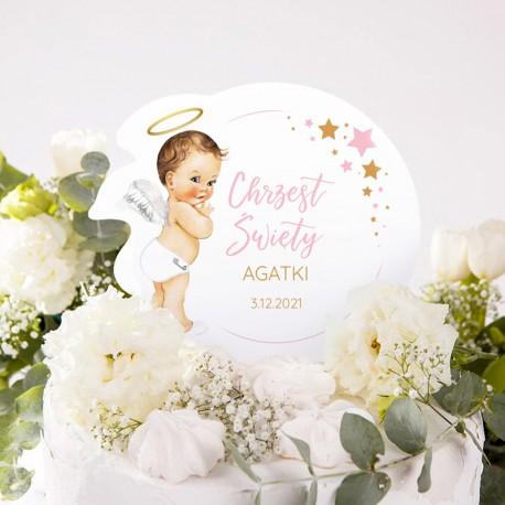 TOPPER na tort personalizowany na Chrzest Różowy Aniołek Z IMIENIEM