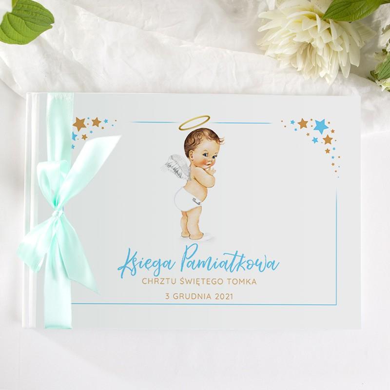 Księga pamiątkowa dla gości niebieski aniołek