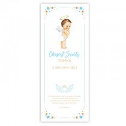 KAKEMONO personalizowane + listwa 60x150cm na Chrzest Niebieski Aniołek