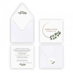 ZAPROSZENIE na Chrzest personalizowane Eukaliptus (+koperta z wnętrzem+naklejka)